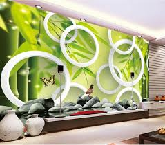 3d Wallpaper For Living Room by Fresh Bamboo Forest On Bricks Circle Yoga Spa Salon Natural