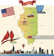 Maps Of Illinois by Cartoon Map Of Illinois Vector Art Getty Images