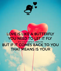 is like a butterfly you need to let it fly if it go that s it