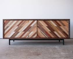 hand made patterned low media console by bolster furniture