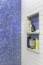 White And Blue Tiles In Bathroom Penny Tile Takes This Bath From Beige To Blue Beauty