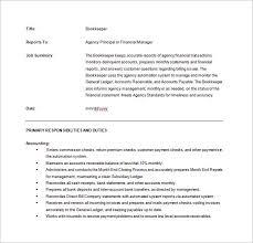 Bookkeeper Job Description For Resume by Full Charge Book Keeper Job Description Sample Pdf Free Download