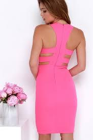 pink dress hot pink dress bodycon dress midi dress 48 00