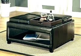Leather Top Ottoman Storage Ottoman With Reversible Tray Top Ottoman With Reversible