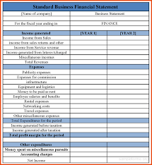 free business financial statement template financial statements