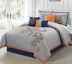 Orange Comforter Blue And Orange Bedding Amazon Com