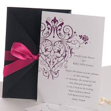 Inexpensive Wedding Invitations Vintage Purple Damask With Grey Pocket Inexpensive Wedding
