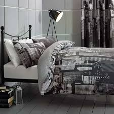 Dunelm Mill Duvets City Scene Black Reversible Duvet Cover And Pillowcase Set Dunelm