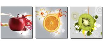 3 panels large art hd picture apple orange kiwi canvas print