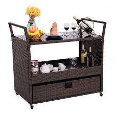 rolling portable rattan wicker kitchen trolley cart kitchen
