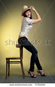 Background With Chair Beautiful Brunette Pise On Yellow Stock Photo 71468794