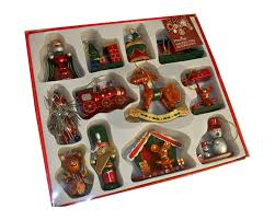 12 x traditional wooden christmas tree decorations hand crafted