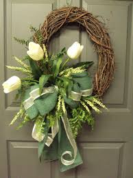 spring wreaths for front door cream tulip wreath spring wreath summer wreath grapevine oval