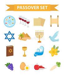 seder set passover icons set flat style of exodus