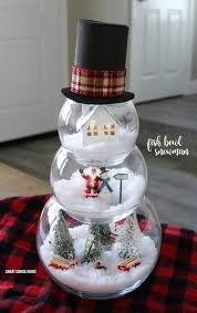 Make Christmas Decorations At Home by Fish Bowl Snowman Diy Craft For A Beautiful And Unique Indoor