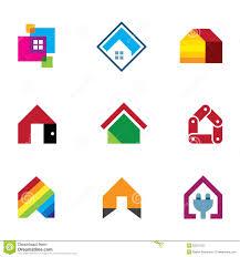 home design logo free design safe home real estate interior construction logo icon stock