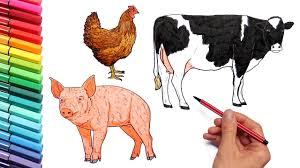 farm animals coloring pages learning animal name and sound for