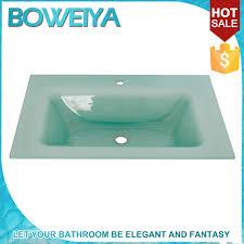 unbreakable glass one piece vanity top bathroom vanity top sink