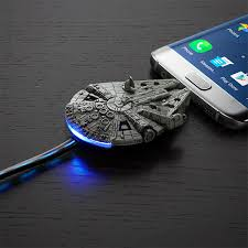 might d light charger star wars millennium falcon micro usb charging cable thinkgeek