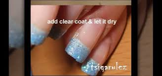 how to paint your nails with blue glitter u0026 black nail polish