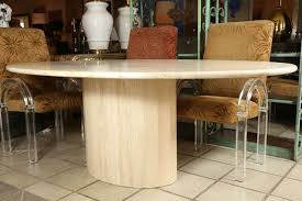Travertine Dining Room Table Classic Oval Polished Travertine Dining Table At 1stdibs