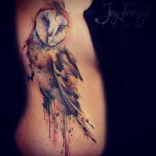 watercolor owl side tattoo best tattoo ideas gallery