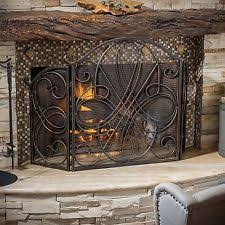 Sparks Fireplace - black iron fireplace screen doors metal 3 panel maple leaf design