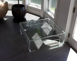 Clear Coffee Table Modern Square Clear Acrylic Coffee Table With Shelf In Living Room