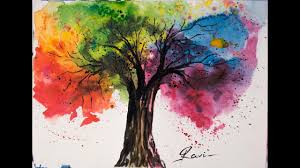 rainbow tree watercolor painting