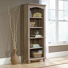 sauder bookcase with glass doors sauder harbor view bookcase with doors antique white hayneedle