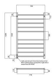 radiant round brtr02 600 x 1100mm black heated towel rail abl