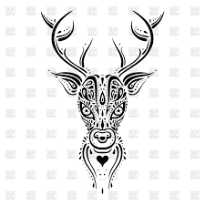 deer head ethnic tribal ornament tattoo tracery royalty free
