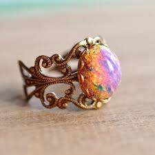 fire opal rings images Pink fire opal ring vintage glass opal on brass filigree ring jpg