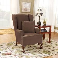sure fit slipcovers wing chair sure fit stretch suede wing chair slipcover walmart com