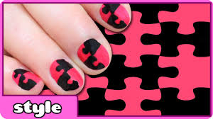 puzzle nail art design puzzle nails tutorial for kids youtube