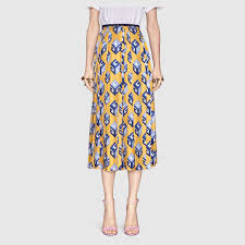 silk skirt gg wallpaper print silk skirt gucci women s skirts 466556zix647776