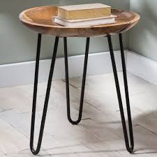Metal And Wood Furniture Teak Wood And Metal Side Table Vivaterra