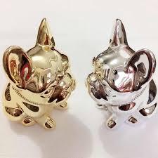 handmade silver gold plated bulldog money bank shiny figurine