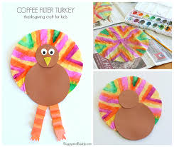easy thanksgiving crafts for coffee filter turkey craft