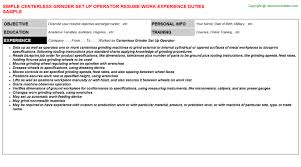 centerless grinder set up operator job title docs