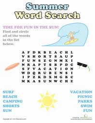 summer word search worksheet education com