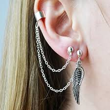 earring with chain to cartilage ear cuff cartilage adjustable wrap dangle
