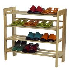 Shoe Cabinet Amazon Amazon Com Winsome Wood Foldable 4 Tier Shoe Rack Natural