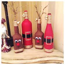 diy christmas decor reindeer from old whiskey bottles and santas