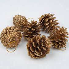 9 pcs bag wooden gold silver pine cone decorations