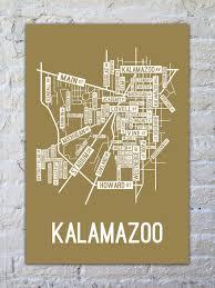 Kalamazoo Michigan Map by Kalamazoo Michigan Street Map Print Street Posters