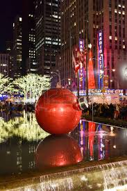 the christmas decorations in the rockefeller center nyc stock