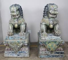 pictures of foo dogs pair of monumental carved wood painted foo dogs levinson