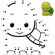 cute baby turtle dot to dot free printable coloring pages