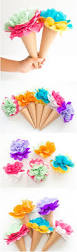 diy tissue paper ice cream cone flowers adorable colorful paper